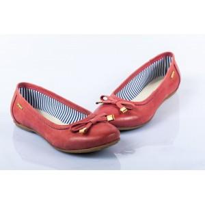 Dámske kožené balerínky červené DT243
