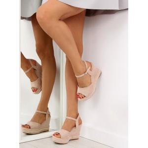 Dámské sandály na platformě béžové barvy
