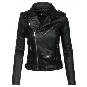 Dámská kožená bunda černé barvy