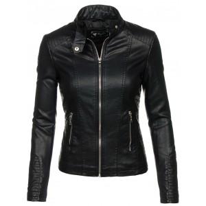 Dámská koženková bunda v černé barvě