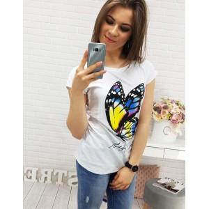 Bílé dámské tričko s barevným motýlem