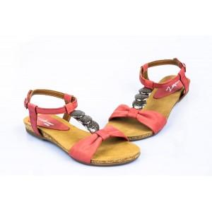 Dámské kožené sandály červené DT098