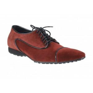 Pánske kožené športové topánky bordové ID: 427