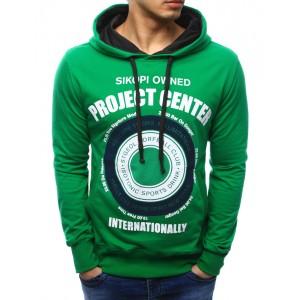 Mikina s kapucí zelené barvy