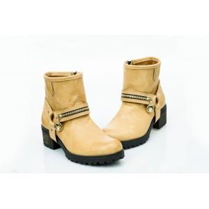 Dámské kožené boty pískové DT452