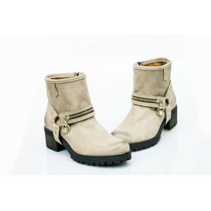 Dámské kožené boty cappuccino DT452