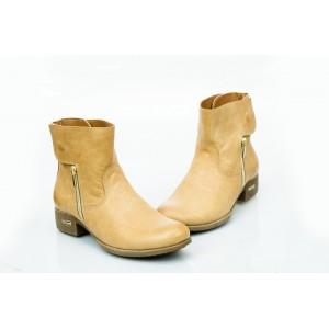 Dámské kožené boty pískové DT475