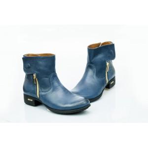 Dámské kožené boty tmavě modré DT475