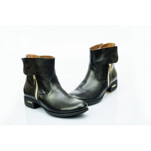 Dámské kožené boty černé DT475