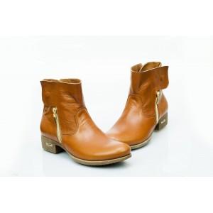 Dámské kožené boty hnědé DT475
