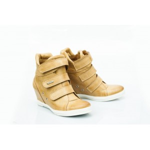 Dámské kožené boty pískové DT224