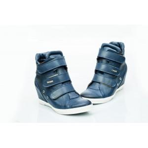 Dámské kožené boty tmavě modré DT224