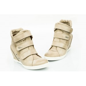 Dámské kožené boty cappuccino DT224