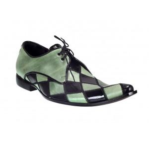 Pánské kožené extravagantní boty zeleno-černé