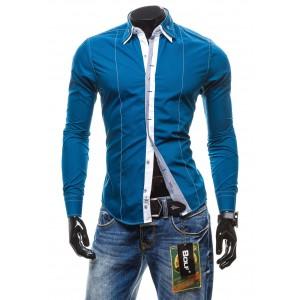 Pánska košile s dlouhým rukávem modré barvy