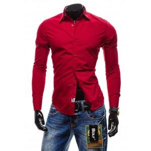 Pánské košile oblekové červené barvy s dlouhým rukávem BOLF