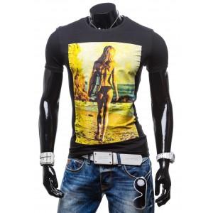 Moderní pánská trička černé barvy s potiskem ženy