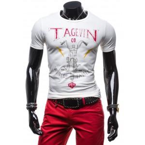 Moderní pánské tričko bílé barvy 100% balvna