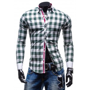 Kostkované košile zelené barvy s dlouhým rukávem
