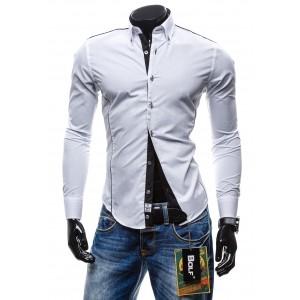 Značkové pánské košile bíle barvy s dlhouhým rukávem