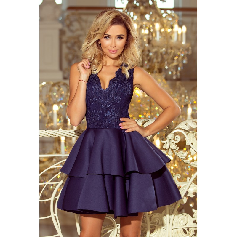 Luxusní společenské šaty tmavě modré barvy 703366bddb