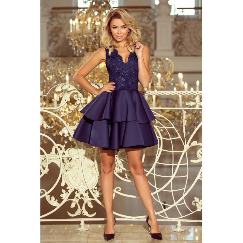 fcc2ca48859c Luxusní společenské šaty tmavě modré barvy