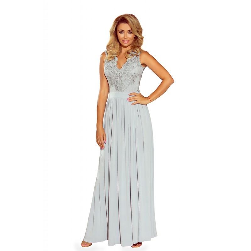 Luxusní plesové šaty dlouhé stříbrné barvy 880fb8475f