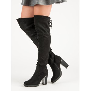 Módní dámské černé kozačky nad kolena s originálním podpatkem