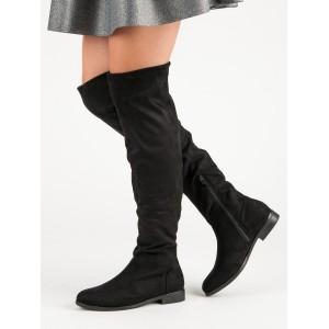 Dámské černé kozačky nad kolena muškatierky na nízkém podpatku