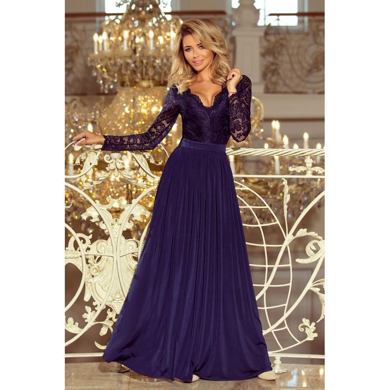 4ea17747b3b Šaty na ples dlouhé v tmavě modré barvě