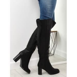 Elegantní dámské černé kozačky nad kolena na vysokém tlustém podpatku