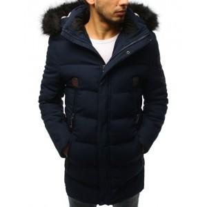 Stylová tmavě modrá pánská bunda s ozdobnými zipy a kapucí