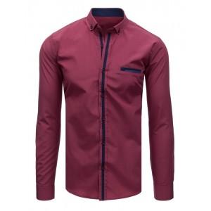 Pánská společenská košile s dlouhým rukávem vínové barvy