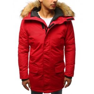 Červená pánská bunda s kožešinou a regulovatelnou šňůrkou v pase