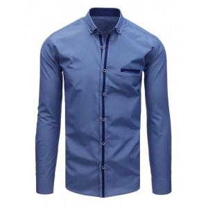 Moderní pánská košile tmavě modré barvy s dlouhým rukávem