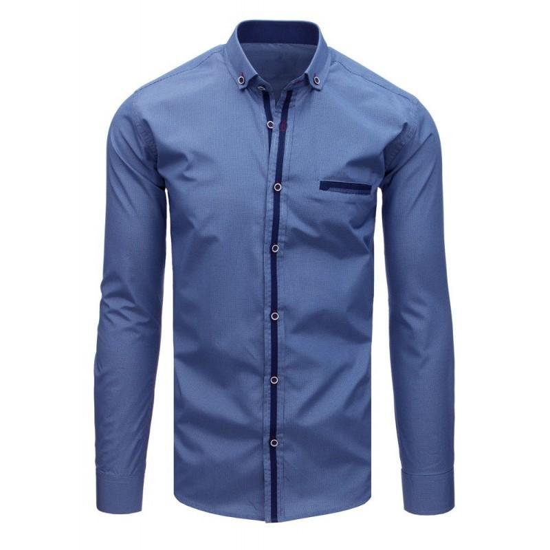 Moderní pánská košile tmavě modré barvy s dlouhým rukávem a25ef0c415