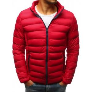 Moderní pánská červená prošívaná bunda na zimu do pásu