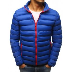 Pánská zimní bunda modré barvy s kotrastnými červenými zipy