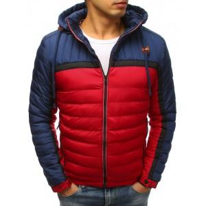 Pánská prošívaná červená pánská bunda s kapucí a zapínáním na zip