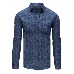 Exkluzivní pánská košile s dlouhým rukávem tmavě modré barvy