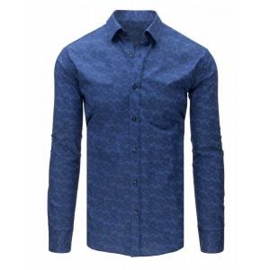 Bavlněná pánská košile modré barvy s dlouhým rukávem
