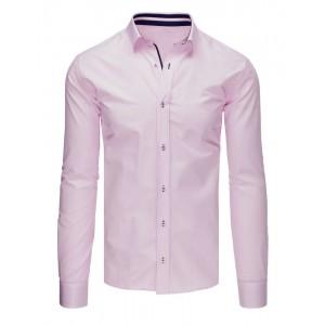 Pánská růžová košile s dlouhým rukávem slim fit