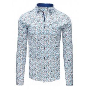 Luxusní pánská košile bílé barvy s barevným vzorem