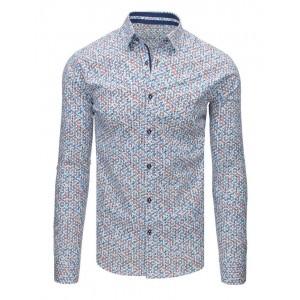 Bílá pánská košile s barevným vzorem a dlouhým rukávem