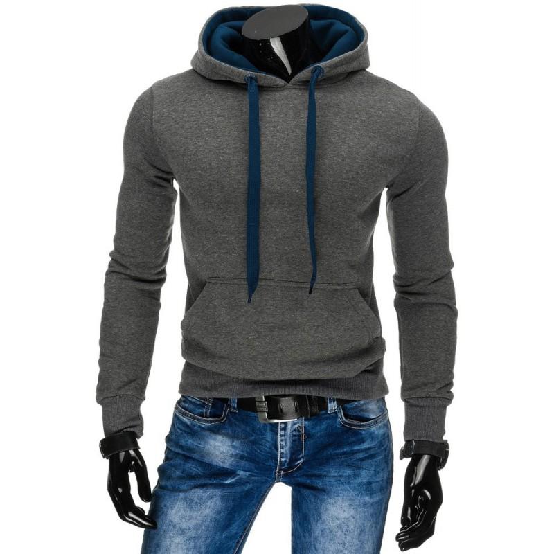 Streetová antracitová pánská mikina s kapucí a šňůrkou v modré barvě bfa066d683