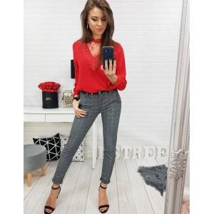 Sexy červená dámská halenka s průsvitnou ozdobnou látkou a krajkou