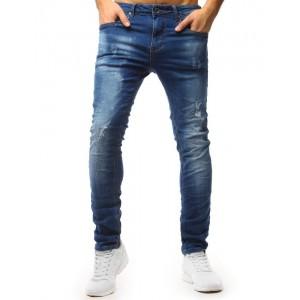 Pánské roztrhané džíny klasické modré barvy