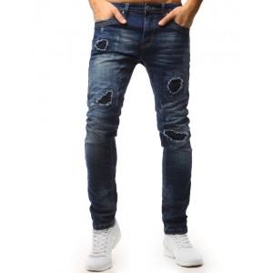 Pánské džíny modré barvy s módními dírami