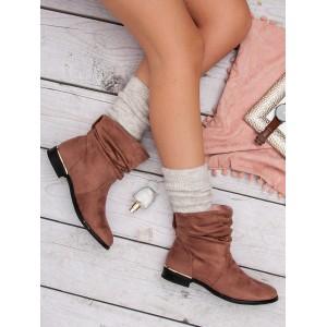 Dámské semišové boty v růžové barvě na nízkém podpatku
