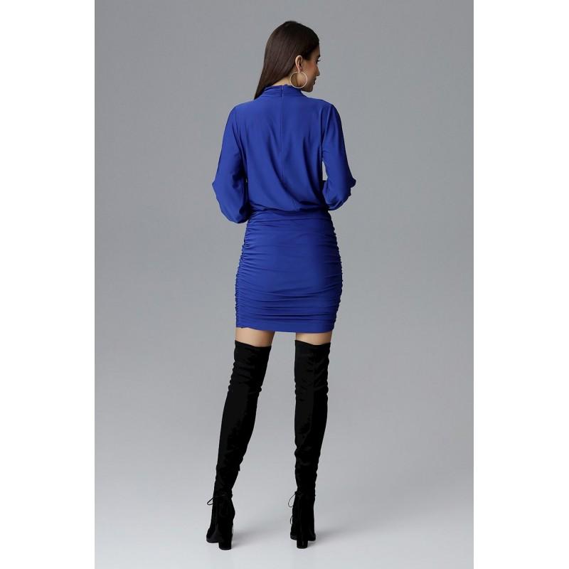 f91d486cd723 Luxusní plesové šaty modré barvy bez výstřihu